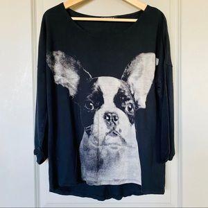 Boston Terrier Dog Print Sweatshirt Black & White